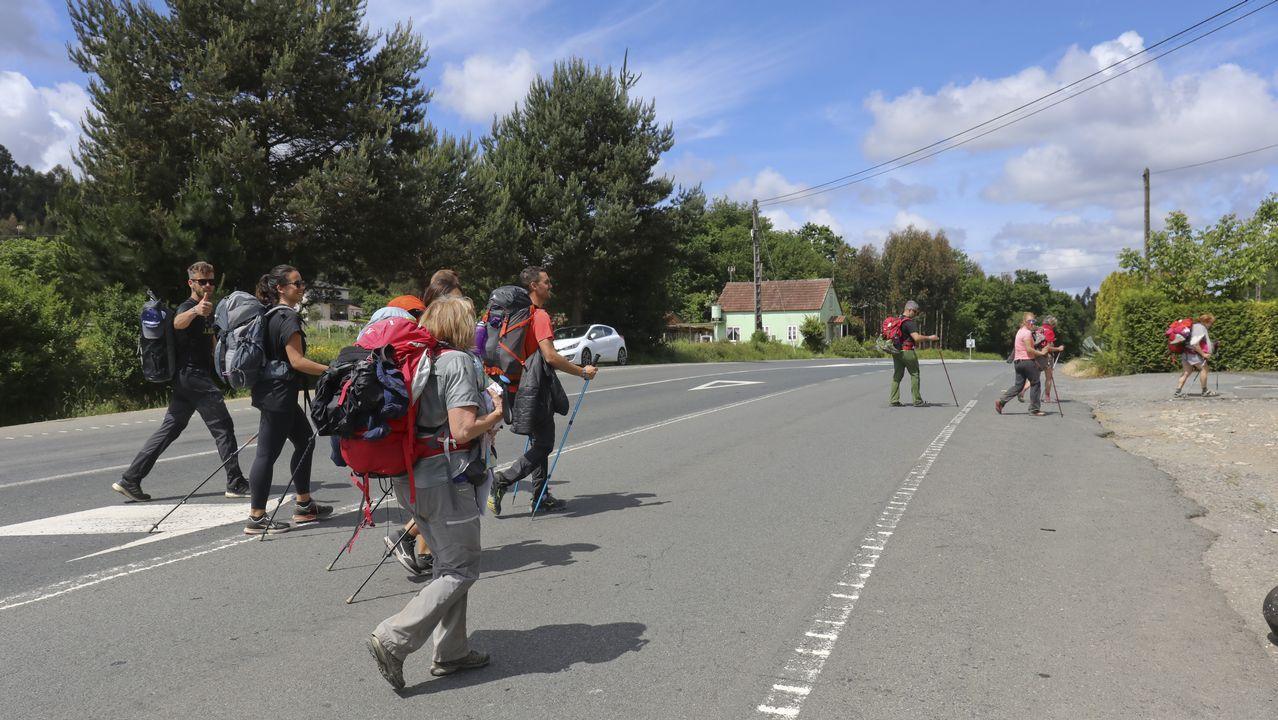 La presencia de caminantes es constante en la N-547 entre Santiago y Santa Irene (O Pino)