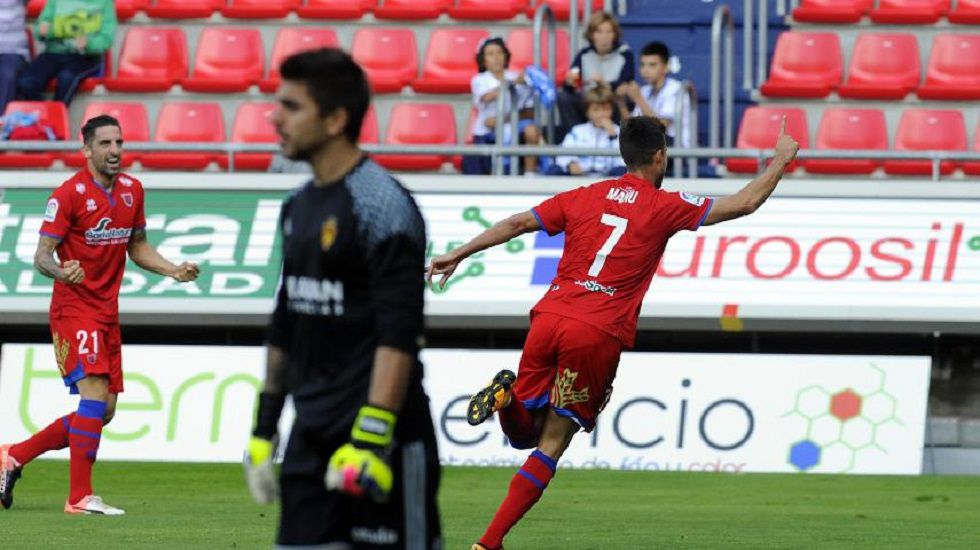 Manu del Moral celebra un gol ante el Zaragoza