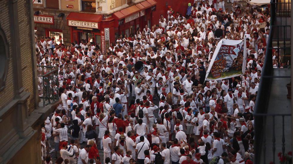 Peligroso tercer encierro en los sanfermines.Manifestación contra las agresiones en sanfermines celebrada esta misma semana