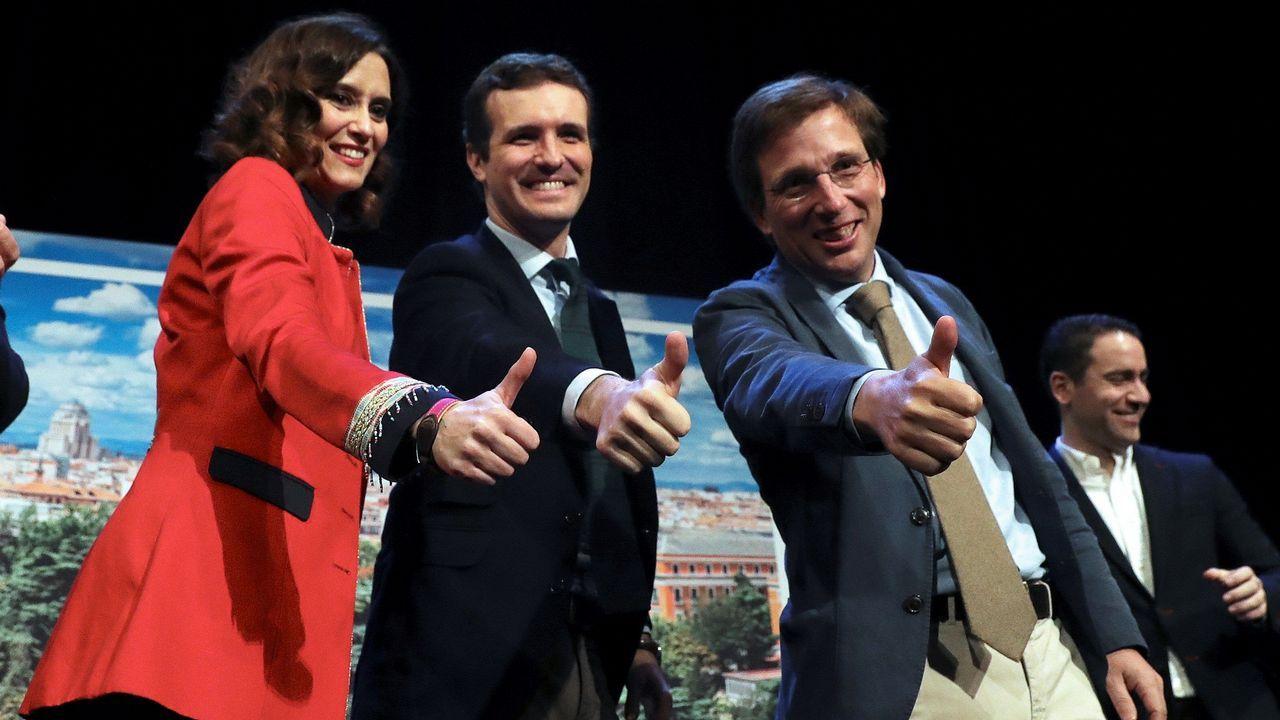 El presidente del PP, Pablo Casado, durante la presentación hoy de sus candidatos a la Comunidad y el Ayuntamiento de Madrid, Isabel Díaz Ayuso y José Luis Martínez-Almeida