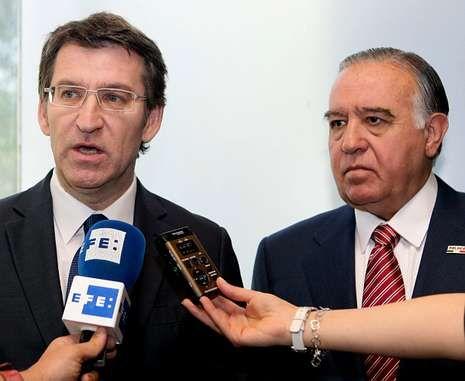 Feijoo y el presidente del Consejo Empresarial Mexicano de Comercio Exterior, Vicente Díez Morodo.