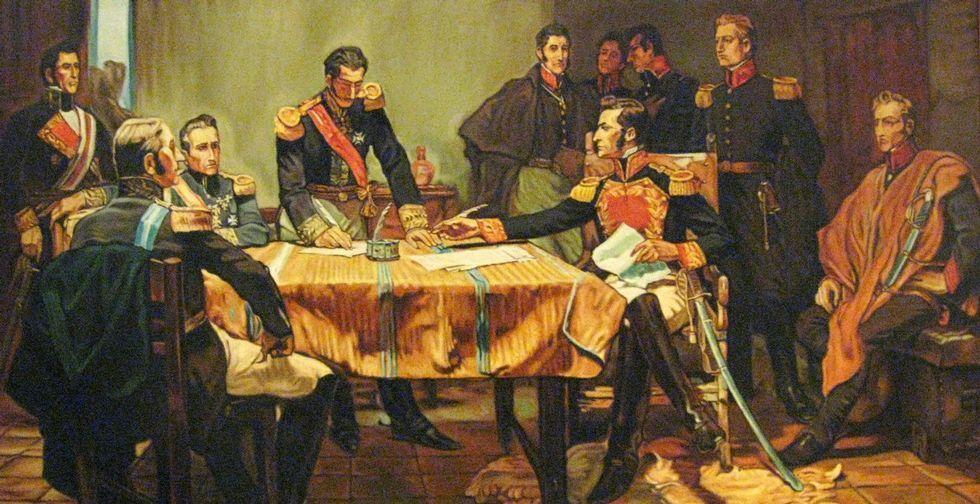 Monet, en el grupo de la izquierda, durante la firma de la capitulación de la batalla de Ayacucho.