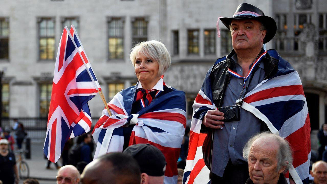 Varios «probrexit», durante la concentración ante Westminster
