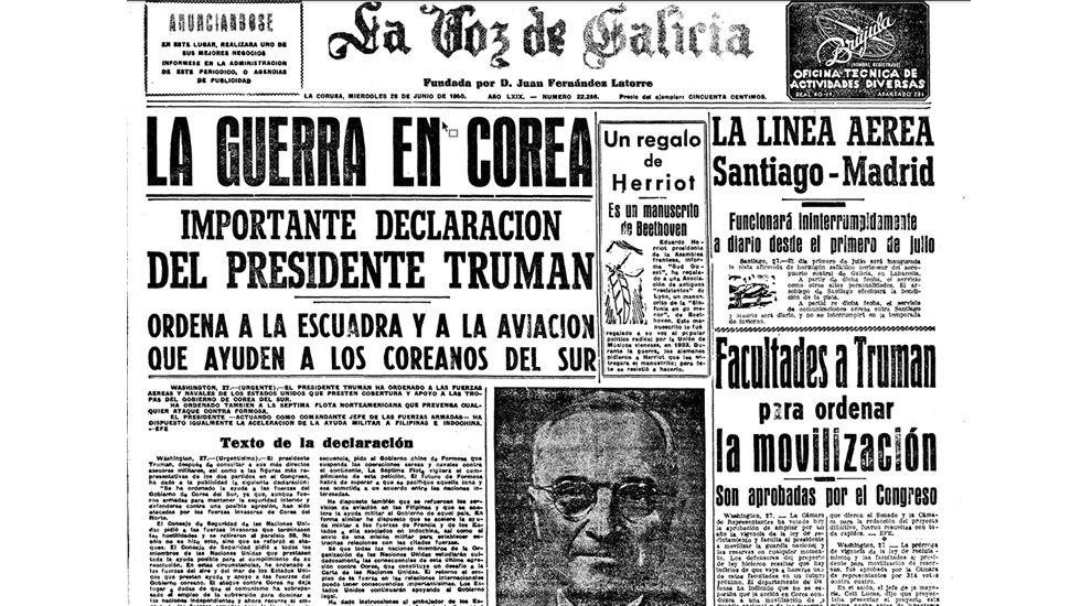 El despliegue bélico de Corea del Norte.Primera plana de La Voz de Galicia del 28 de junio de 1950