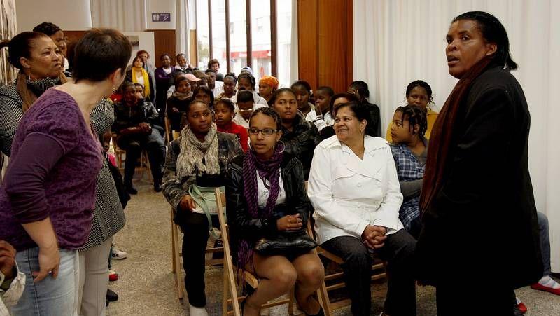 Caboverdianas asentadas en Burela, en una celebración del Día da Muller