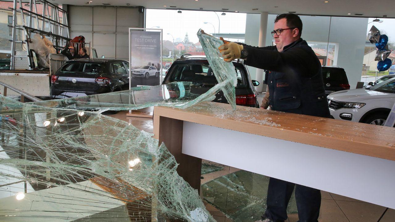 El viento derribó la luna de un concesionario en Trabanca