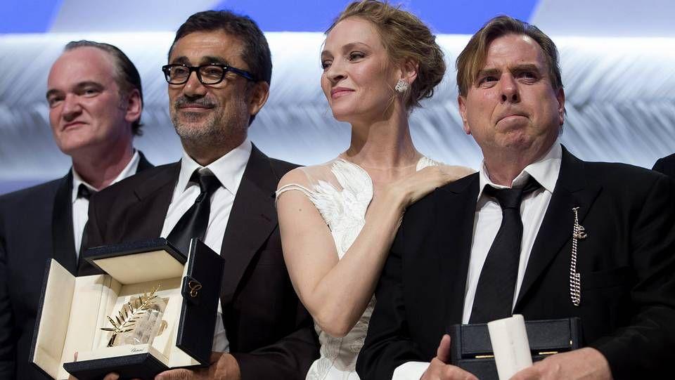 Coelho H.Tarantino, Nuri Bilge Ceylan -el director galardonado con la Palma de Oro-, Uma Thurman y Timothy Spall -mejor actor-