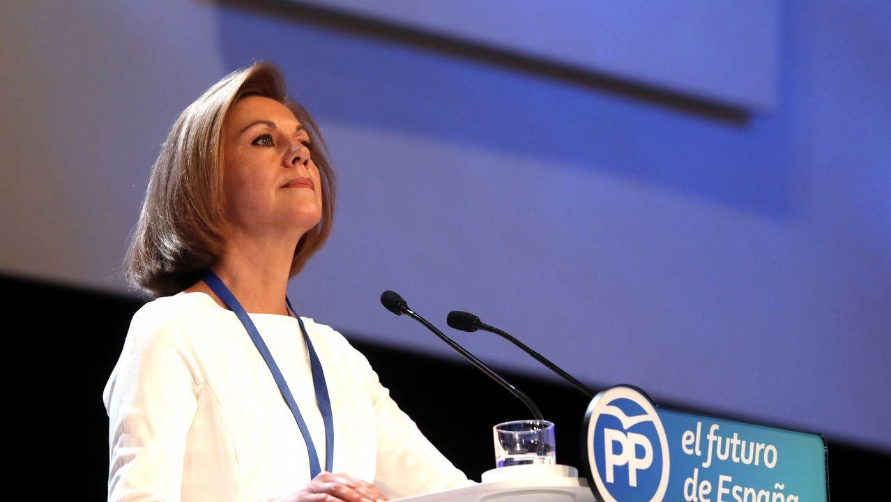 .La secretaria general del Partido Popular, María Dolores de Cospedal, durante su intervención