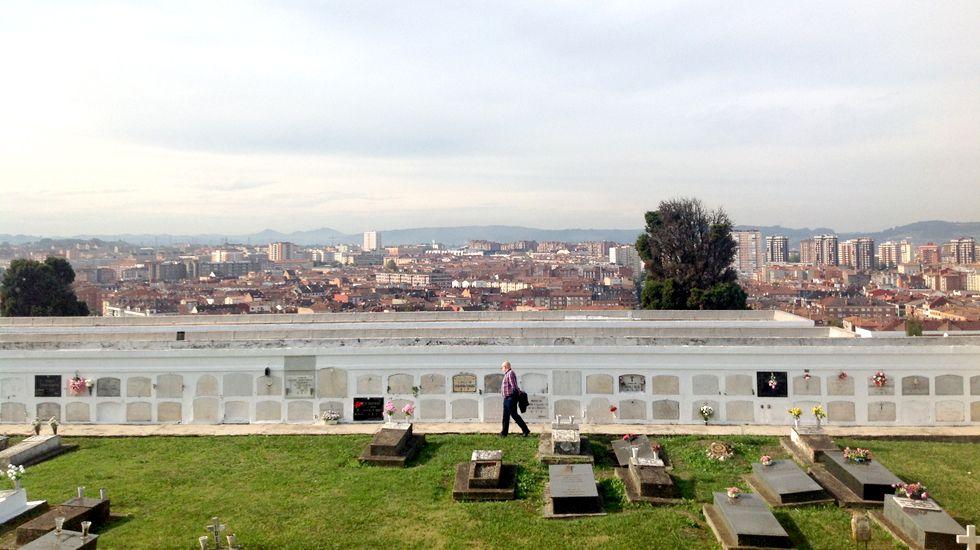 Acto de Pablo Iglesias en Gijón.Un visitante del cementerio de Ceares, con Gijón al fondo