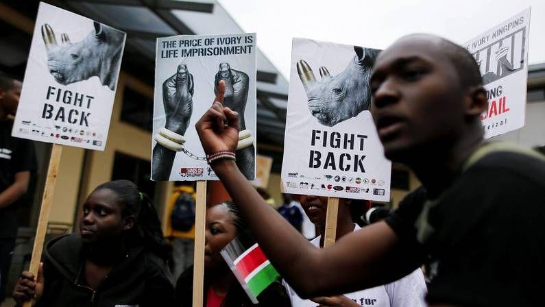 .Ciudades de todo el mundo, como Nairobi, en Kenia, se sumaron a la marcha global por los elefantes y rinocerontes