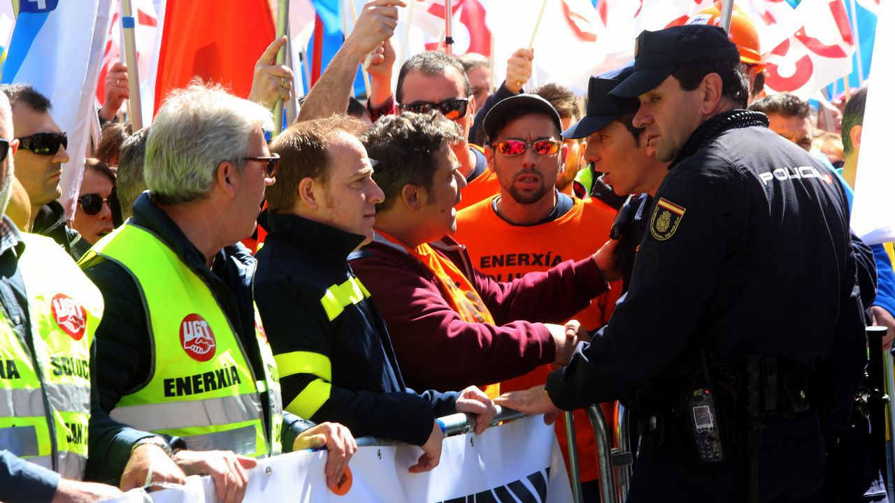 Manifestantes de Alcoa en Madrid.Manifestantes de Alcoa en Madrid