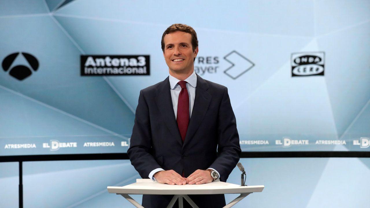 Pablo Casado, poco antes de que se iniciara el debate de Atresmedia