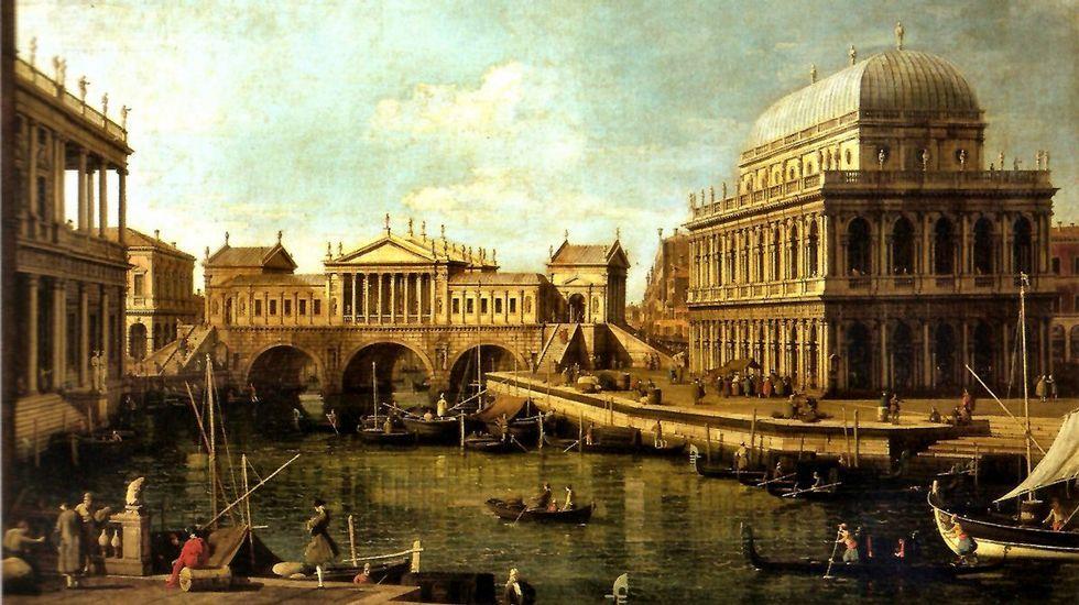 «Capricho con el puente de Andrea Palladio y la basílica de Vicenza». Pintura de Canaletto (1697-1768), que nos muestra en Venecia un puente que pudo haber sido y no fue, el de Rialto con tres arcos