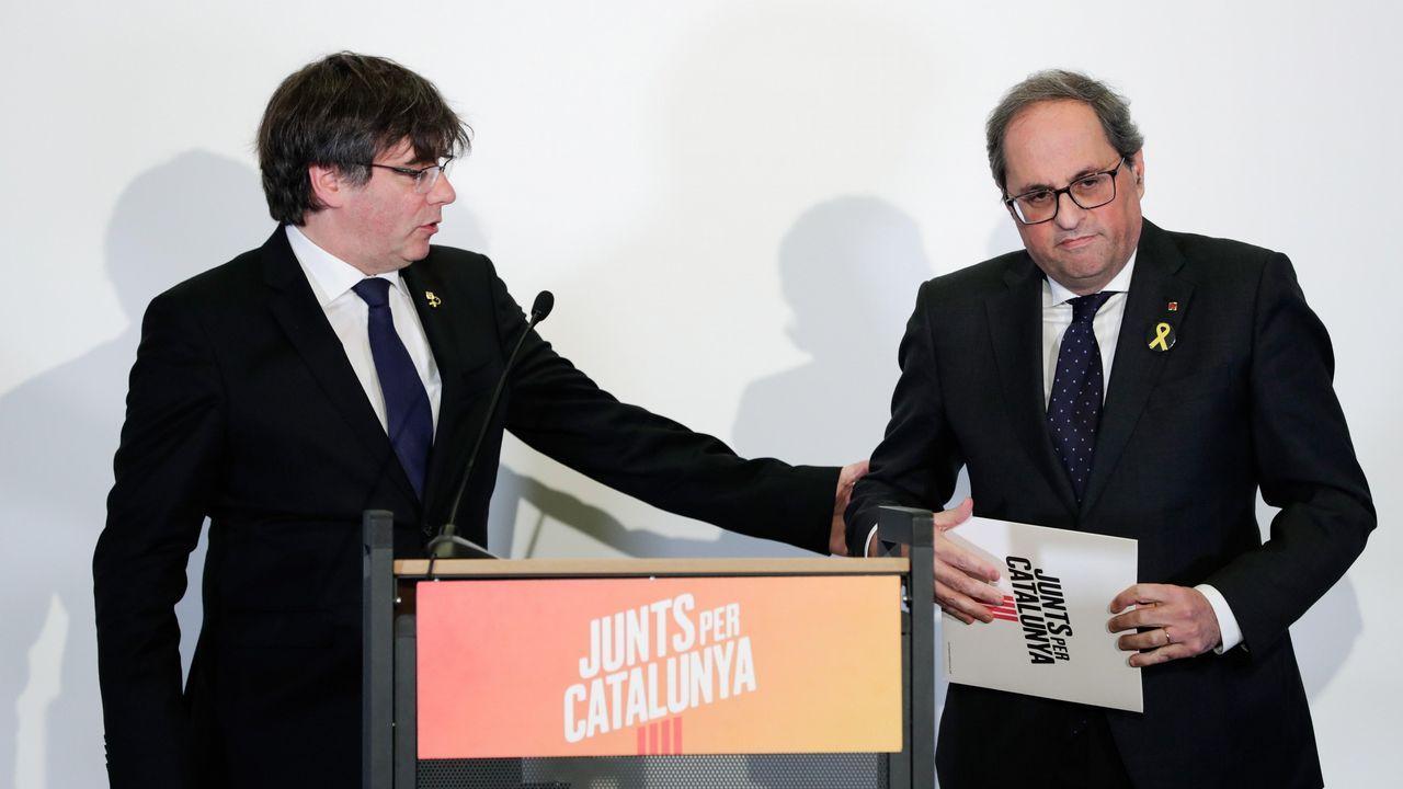 | EFE.Puigdemont y Torra en la reunión de Junts per Catalunya celebrada el lunes en Bruselas