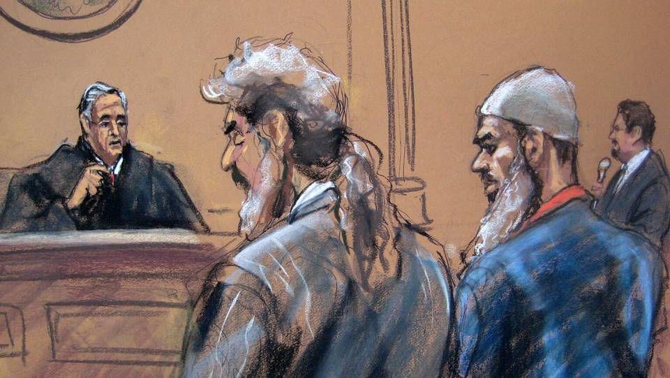 Los nuevos inquilinos de la «Torre de la Libertad».Recreación del juicio, con el yerno de Bin Laden a la derecha