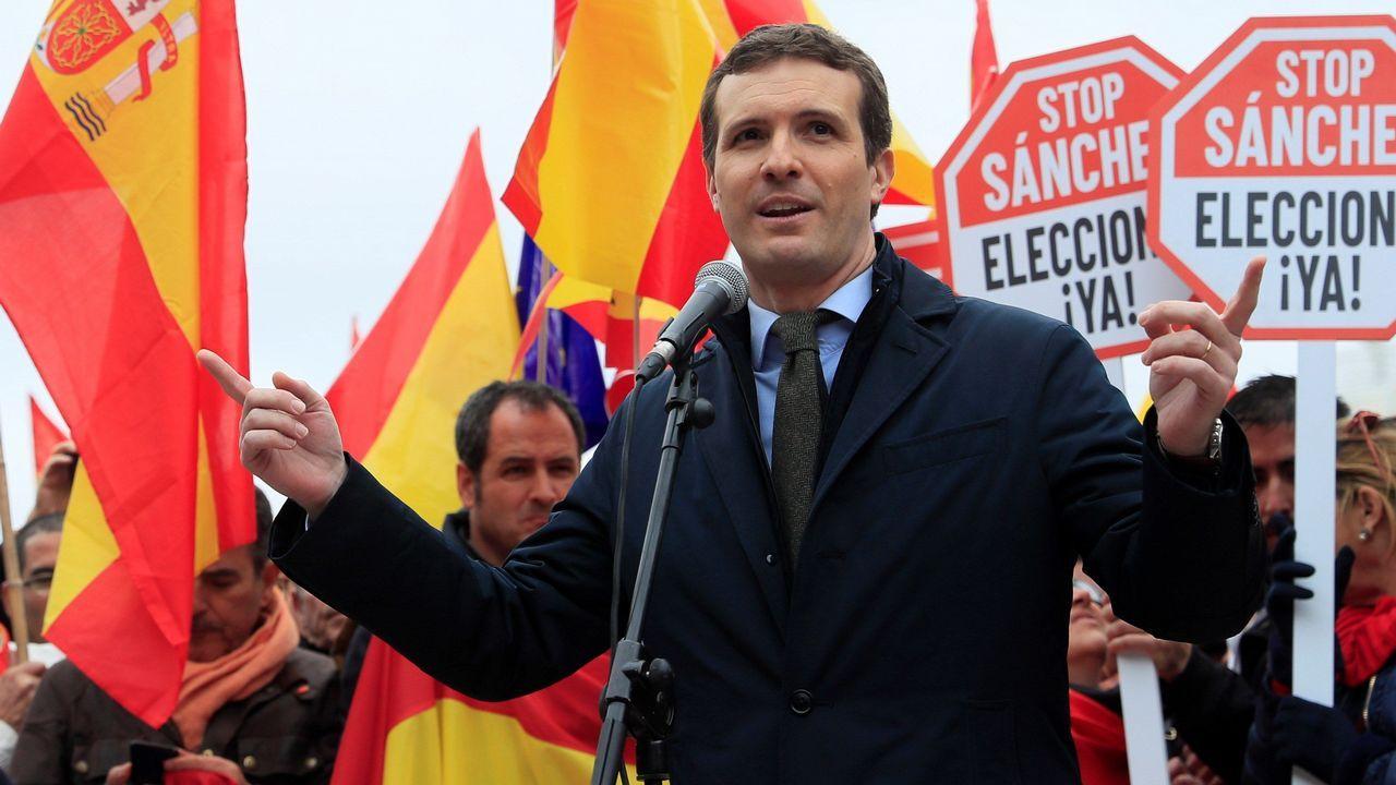El líder del PP, Pablo Casado, durante su intervención ante los congregados