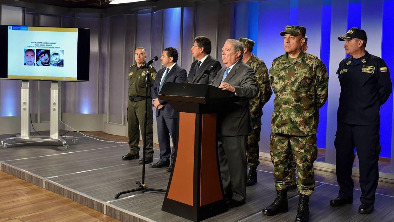 El ministro de Defensa de Colombia, Guillermo Botero, durante la rueda de prensa en la que ofreció detalles sobre el atentado