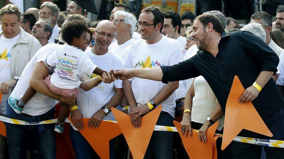 Cataluña sale a la calle en la Diada.Oriol Junqueras, de ERC.