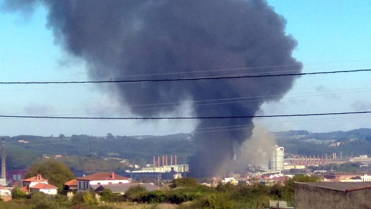 Exitoso y ordenado simulacro en Afundación.La nube de humo negro cuelga sobre la factoria de Arcelor y alrededor de las localidades cercanas