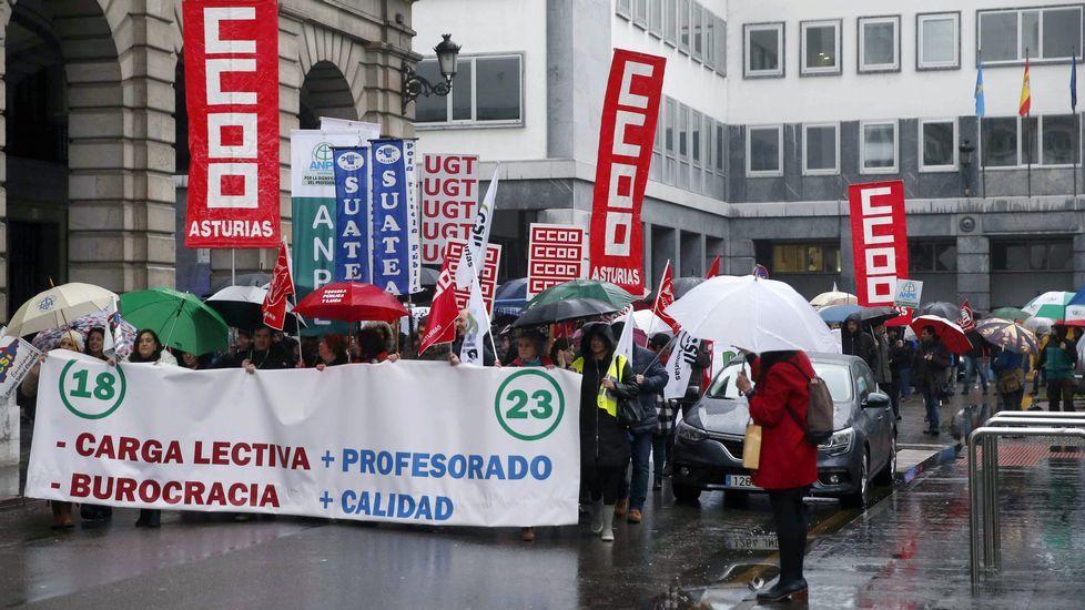 .Cientos de profesores han protagonizado una nueva protesta en la Plaza de España de Oviedo, junto a la sede de la Consejería de Educación,
