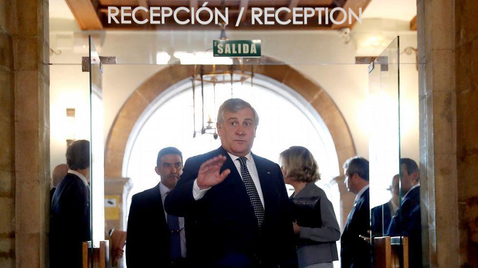 El presidente del Parlamento Europeo, Antonio Tajani, hoy en Oviedo, donde recoge esta tarde el premio Princesa de Asturias a la Concordia, otorgado este año a la Unión Europea. EFE/Chema Moya