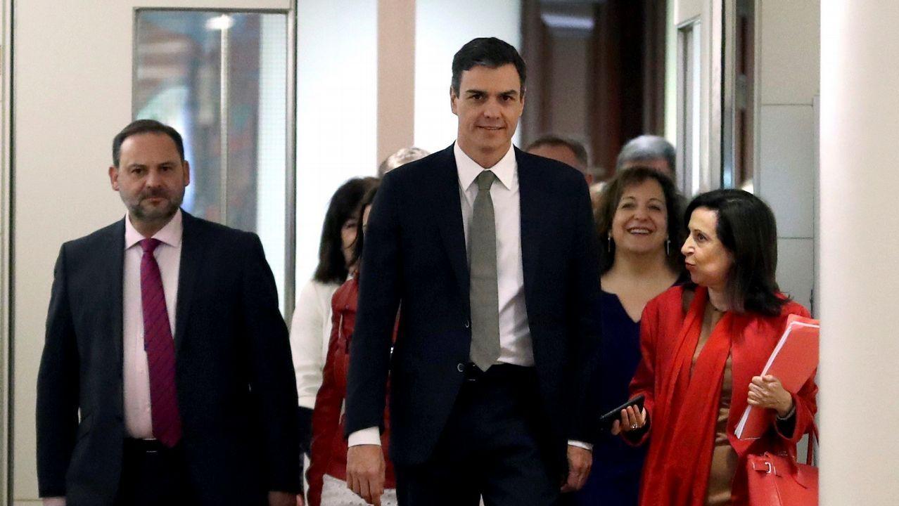 .Pedro Sánchez, con el grupo parlamentario socialista