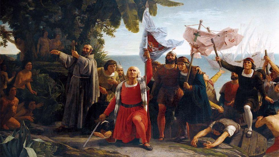 Primer desembarco de Cristóbal Colón en América (1862), un cuadro de Dióscoro Teófilo Puebla Tolín (1831-1901), propiedad del Museo del Prado y cedido al Concello da Coruña, que lo expone en sus casas consistoriales