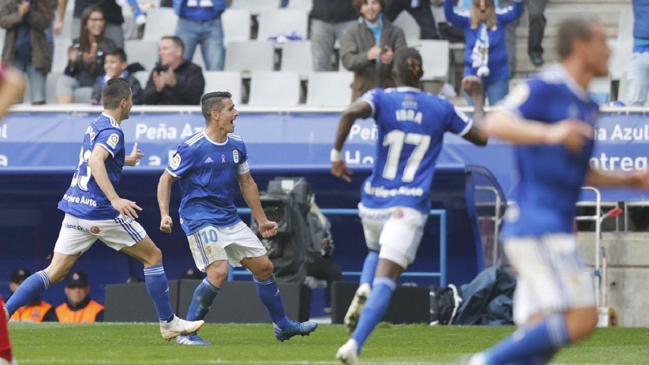 Anquela Real Oviedo Requexon.Saúl Berjón celebra su gol a Osasuna