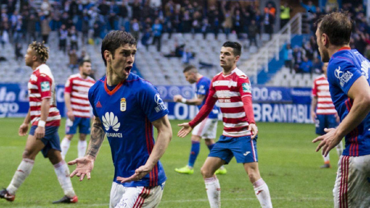 Forlin Carlos Hernandez Gol Real Oviedo Granada Carlos Tartiere.Forlin celebra su gol con Carlos Hernandez