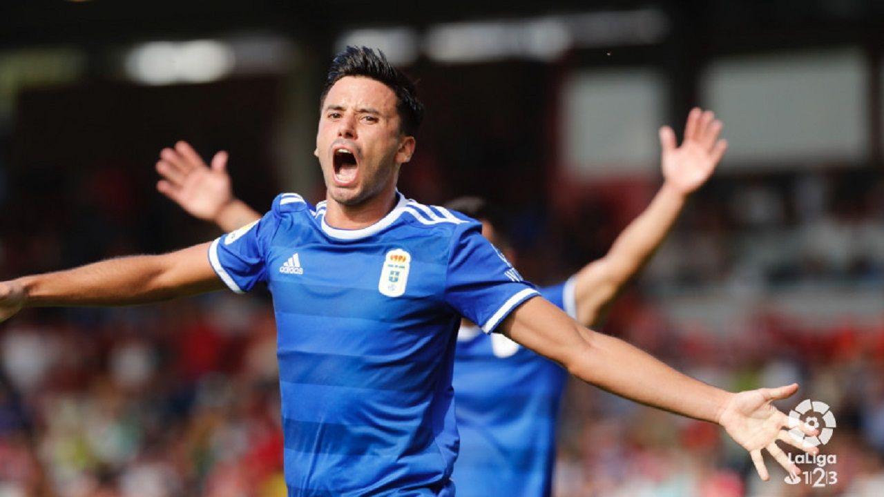 Javi Muñoz gol Lugo Real Oviedo Anxo Carro.Javi Muñoz celebra su gol al Lugo
