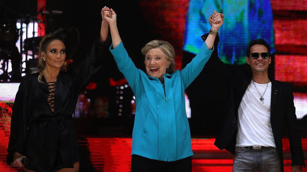 .Jennifer Lopez pidió el voto para Clinton en Miami.