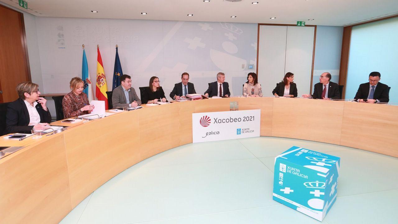 Reunión del Consello de la Xunta presidido por Alfonso Rueda.El vicepresidente de la Xunta, Alfonso Rueda, compareció tras el Consello debido a la ausencia de Feijoo