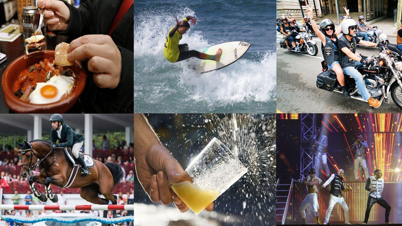 Montaje collage sidra surf tapas hípico orquesta.Asociación de Recreación Histórico Cultural de Asturias en Avilés