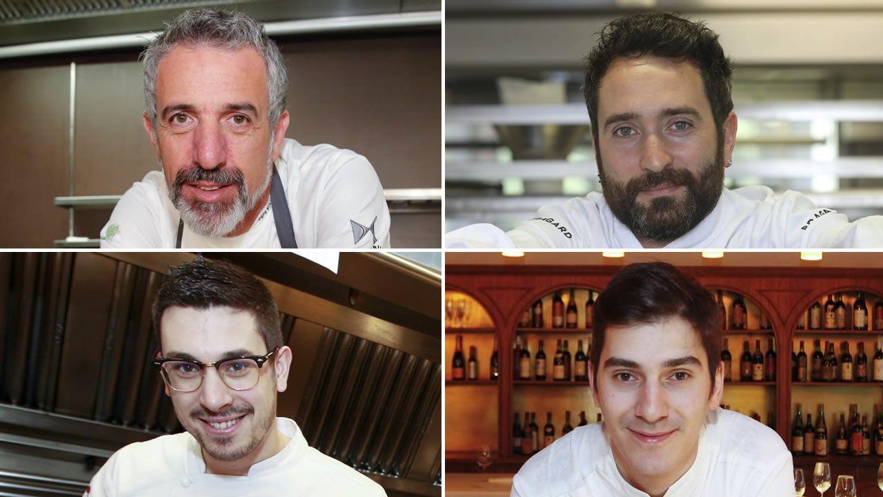 Pepe Solla (Casa Solla), Dani López (O Camiño do Inglés), Jorge Gago (A Maceta) y Alberto Lareo (Restaurante Manso)