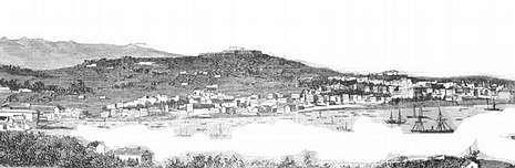 Ilustración del año 1880 en la que se aprecia una panorámica de lo que era Vigo en aquella época.