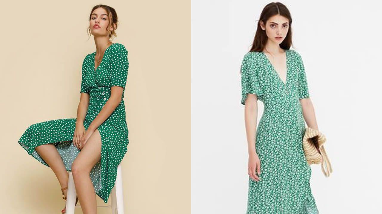 A la izquierda, la prenda en la tienda online de la francesa Rouje. A la derecha, la opción más económica, en la web de PullBear