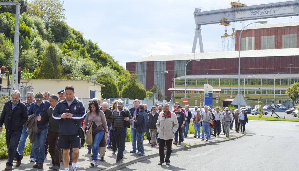 La última movilización de los trabajadores del naval fue el encierro y la marcha hasta el Concello de Fene de los trabajadores.