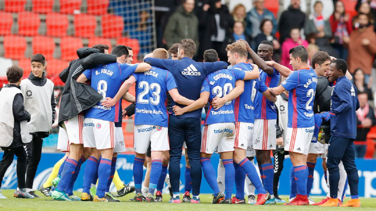 Lugo Real Oviedo Anxo Carro.Los futbolistas azules celebran la victoria frente al Lugo