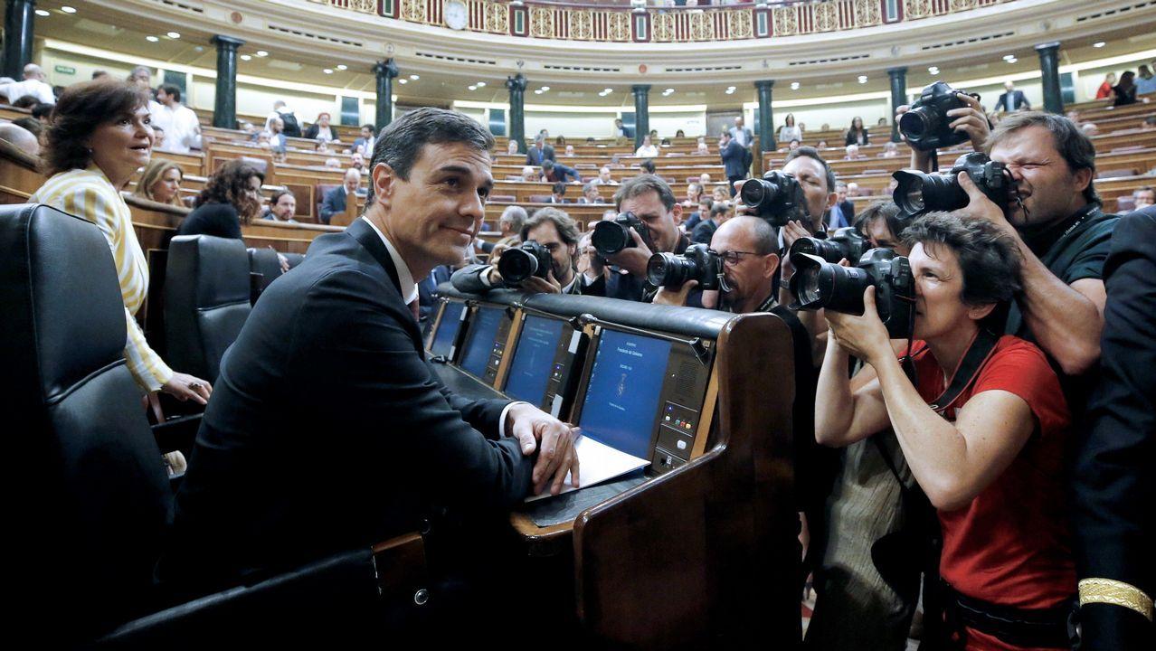 El presidente del Gobierno, Pedro Sánchez, en la sesión de control en el Congreso de los Diputados