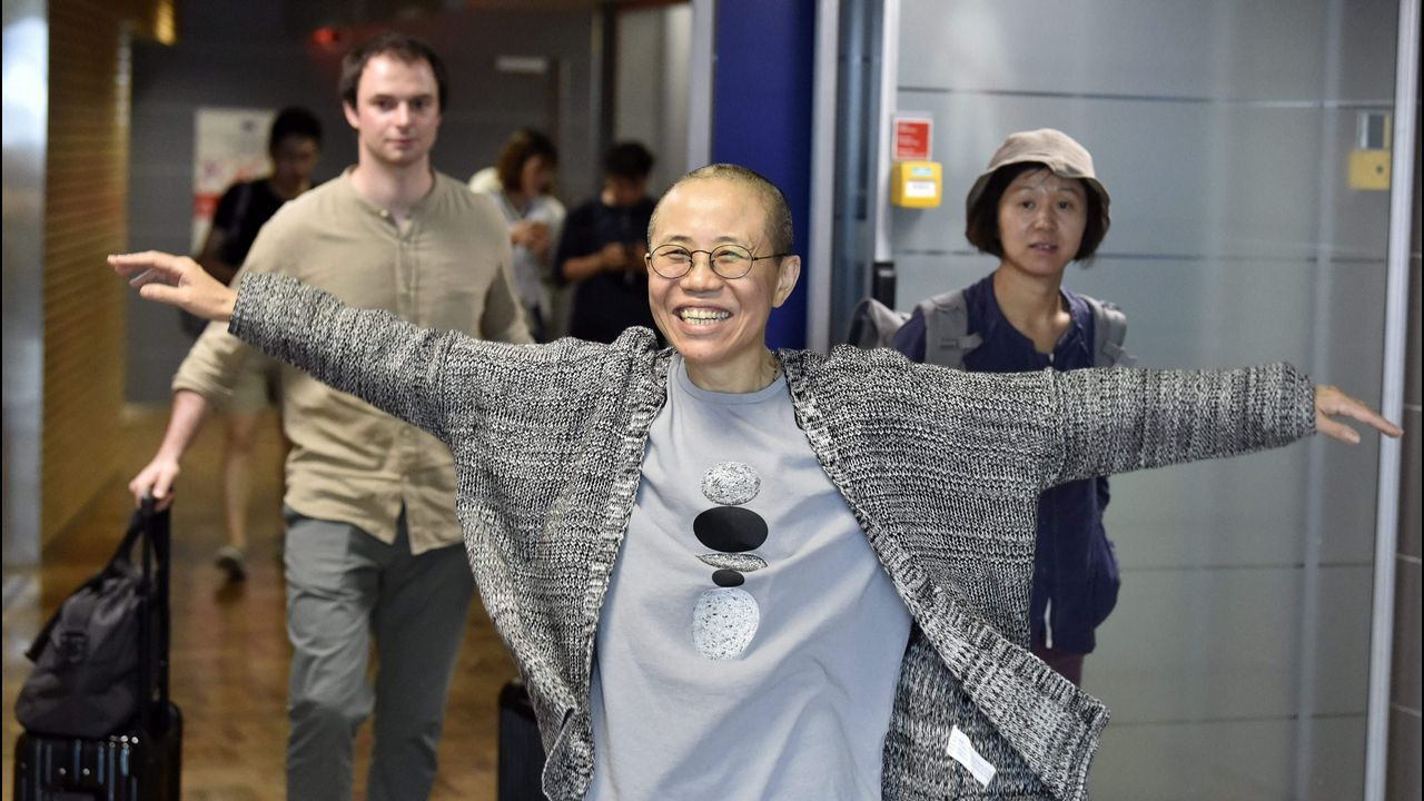.Liu Xia, a su llegada al aeropuerto finlandés de Vantaa, desde donde viajó a Berlín