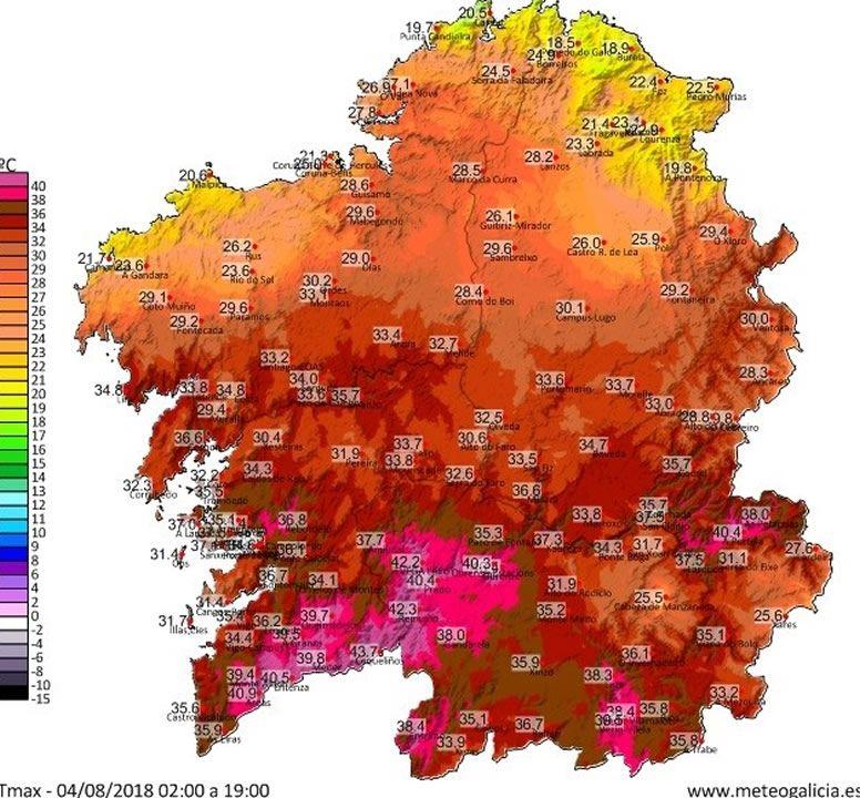 Temperaturas máximas registradas hasta las siete de esta tarde
