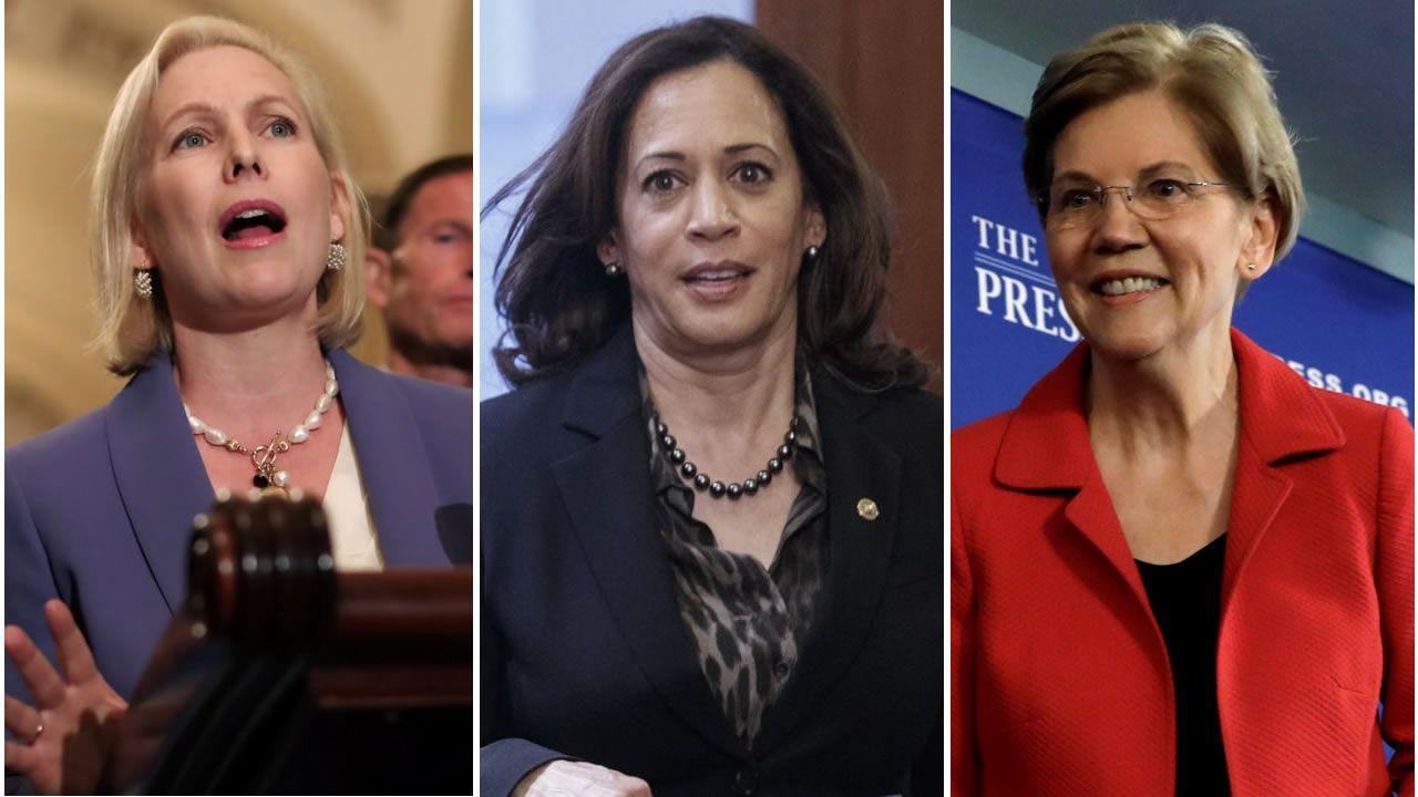 Kirsten Gillibrand, Kamala Harris y Elizabeth Warren