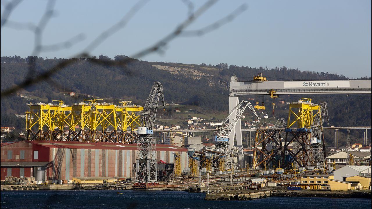 Puesta de largo en Navantia Fene para la entrega de las cuatro primeras «jackets»del mayor parque eólico marino de Iberdrola.Central térmica de Lada