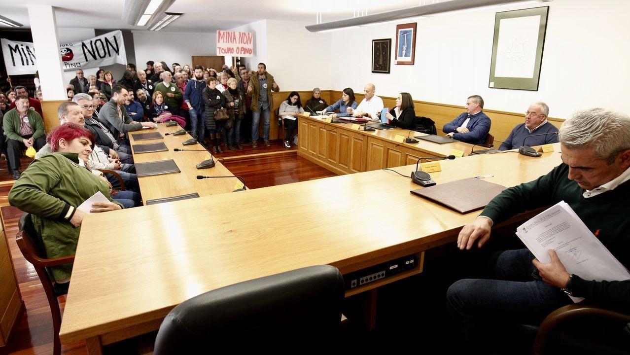 Pleno en O Pino en contra de la mina de Touro