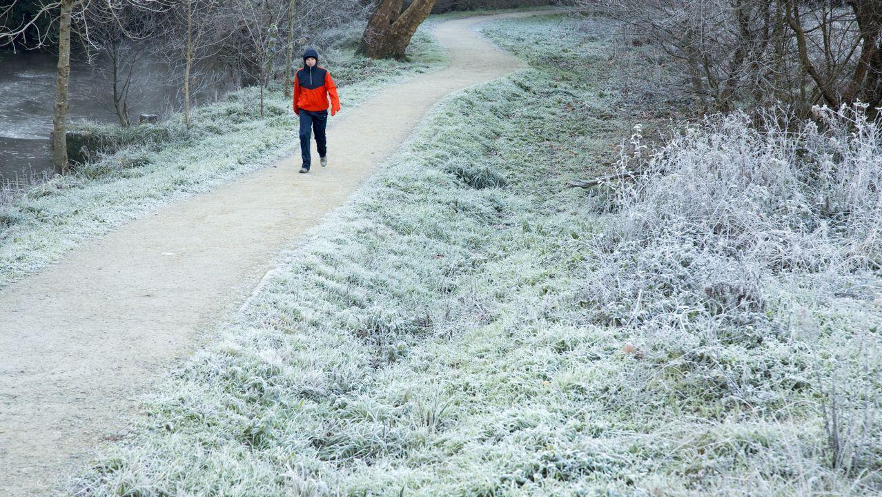 Mucho frío en la Costa da Morte.La avenida de Madrid de Lugo llena de nieble ayer hasta las primeras de la tarde