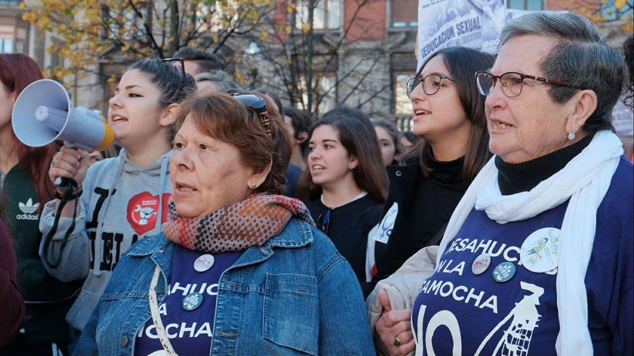En la concentración contra el machismo, en Gijón
