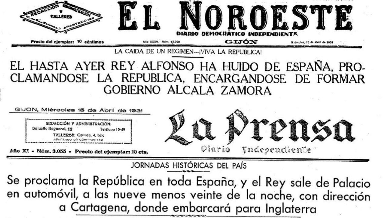 Portadas de 'El Noroeste' y 'La Prensa' el 15 de abril de 1931, tras la proclamación de la República