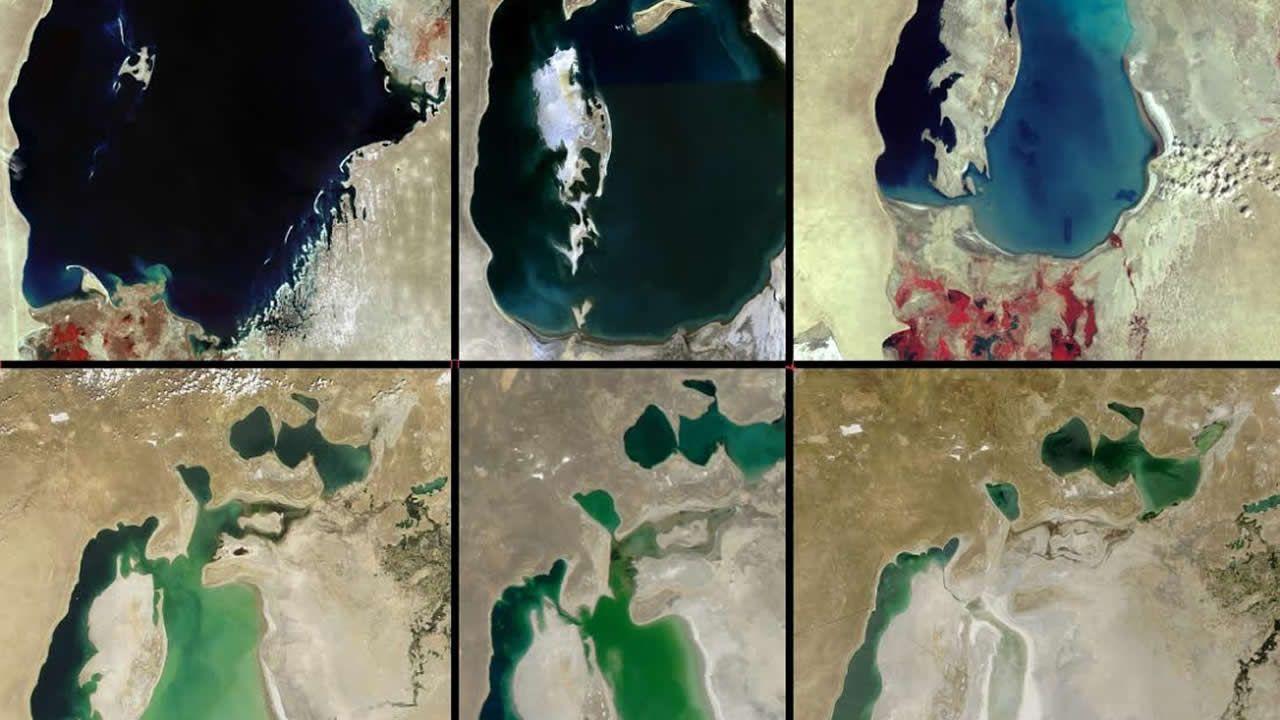 Evolución de la pérdida del agua en el mar de Aral desde 1970 hasta la actualidad