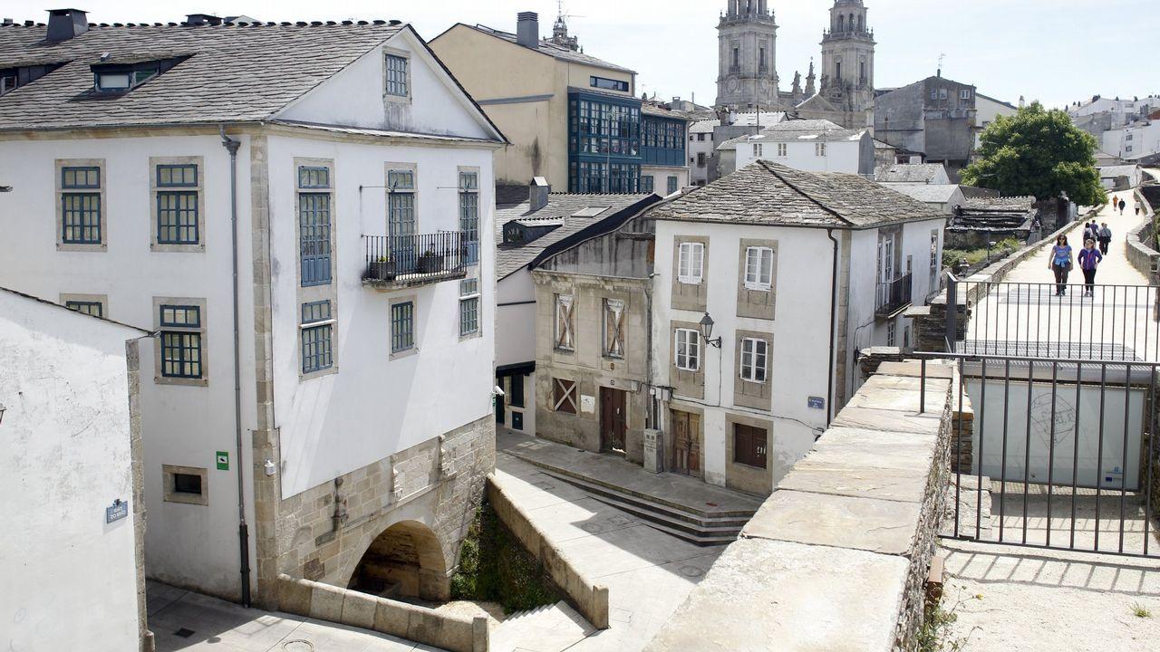 Se vende pazo de 1660 más barato que un piso en el centro de Madrid.Álvaro Solona, medievalista de la Universidad de Oviedo, muestra un cartel vinculado al Camino del Salvador