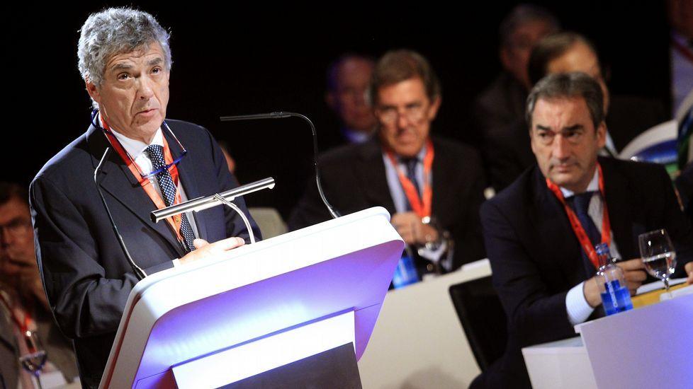 Ángel María Villar durante la última asamblea de la Federación Española de Fútbol